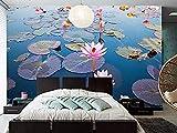 FSLUCKY Benutzerdefinierte großes Wandbild schöne Lotus Pond Wallpaper Wohnzimmer Schlafzimmer TV Sofa Wand 3D Wallpaper-B