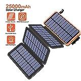 Hiluckey Solar Powerbank 25000mAh, Solar Ladegerät mit Dual 2,1A Output Wasserdicht Power Bank für iPhone, Samsung Galaxy, iPad und Smartphones