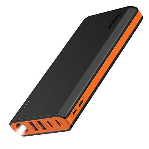 EasyAcc Powerbank 20000mAh Externer Akku mit 4 Output(2USB/2Type C)&Dual Eingang(Micro/Type C) Ladegerät mit Taschenlampe für iPhone,Samsung,Huawei,iPad und mehr-Schwarz+Orange