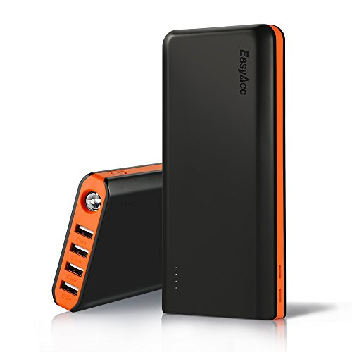 EasyAcc 20000mAh Powerbank Externer Akku mit 4 Smart Ausgängen Dual Eingang für Android iPhone Samsung HTC Smartphones Tablets - Schwarz und Orange