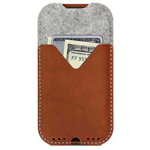 Pack & Smooch Für iPhone 11 Pro/Xs Hülle, Tasche -Kirkby- Hellbraun aus 100% Merino Wollfilz, Pflanzlich gegerbtes Leder, Made in Germany