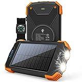 Solar Power Bank Wireless Solar Ladegerät,10000mAh Externer Akku,Typ C-Eingang Tragbare Solar Power Bank für iPhone,Samsung und andere Smartphones/Handys
