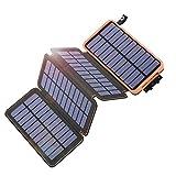 Hiluckey Solar Powerbank 25000mAh, Solar Ladegerät Wasserdicht mit 2 USB 2,1A Ausgängen Tragbares Power Bank für Camping Wanderung für iPhone, Samsung Galaxy, Handys, Outdoor Aktivitäten