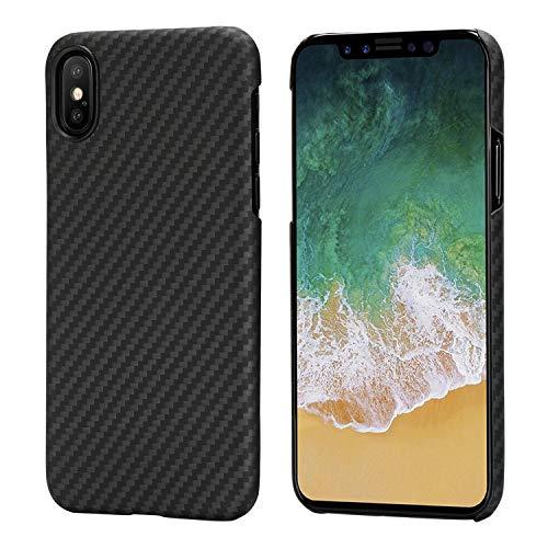 pitaka Magnetische Hülle Kompatibel mit iPhone X,MagCase Aramidfaser[Kugelsicheres Material] Handyhülle, Ultra dünn Super leicht stabilste passgenaue Schutzhülle - Schwarz/Grau(Köperbindung)
