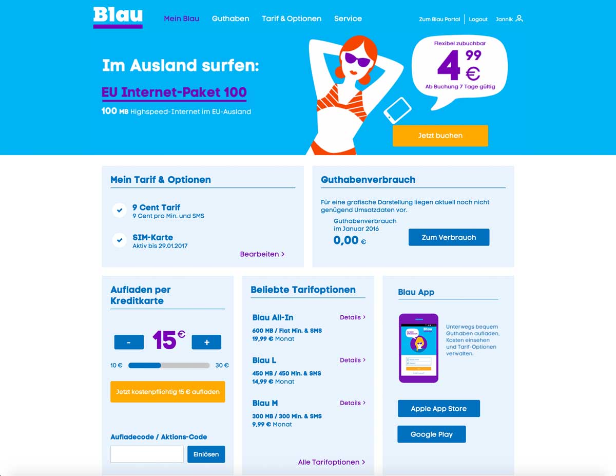 Erfahrungen blau Kundenportal