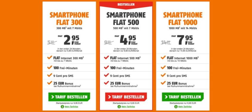 klarmobil Smartphone Flat ab 2,95 Euro + 15 Euro Amazon-Gutschein