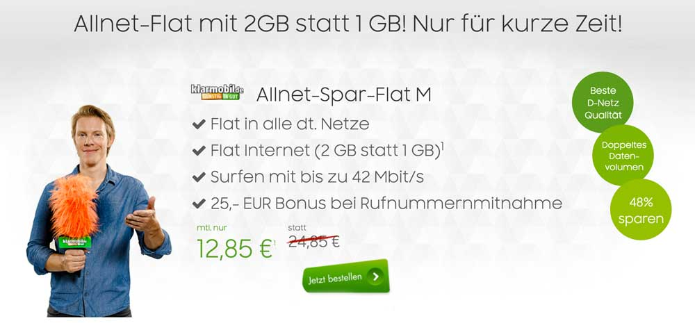 Allnet Flat (D1-Netz) + 2 GB Internet Flat für 12,85 Euro
