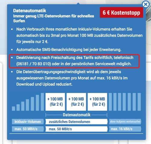 Handytarife ohne Datenautomatik