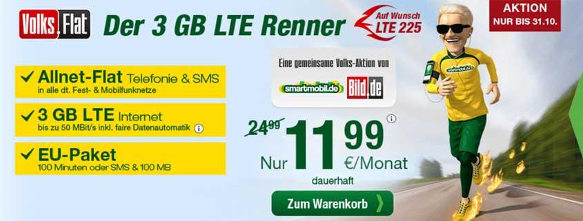 smartmobil Volks-Flat: Allnet Flat, SMS Flat, 3 GB Daten & EU-Paket für 11,99 € pro Monat