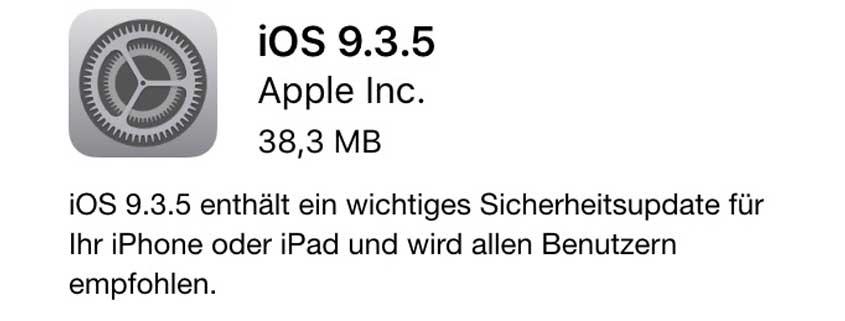 """iOS 9.5.3: Update schließt kritische Sicherheitslücke """"Pegasus"""""""