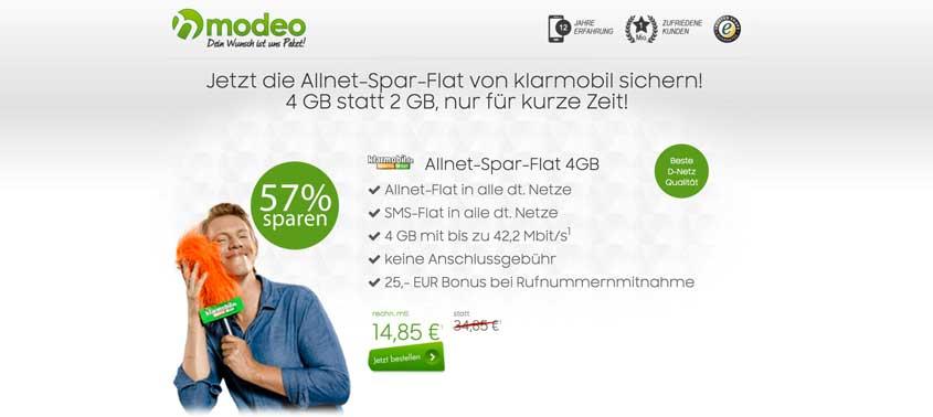 klarmobil Allnet Flat 4 GB D1