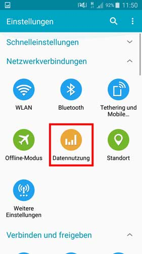 Datennutzung Android