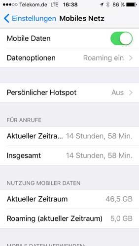 iPhone verbrauchtes Datenvolumen