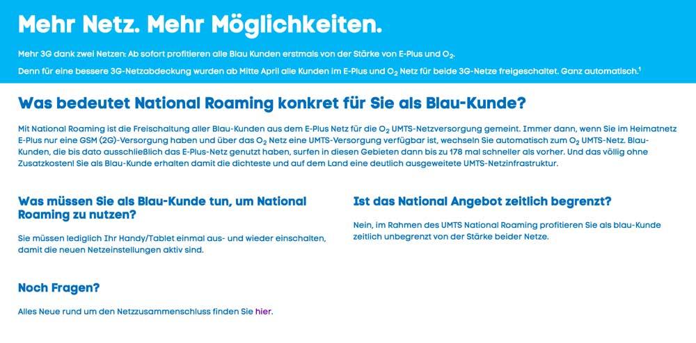 Welches Netz nutzt Blau?
