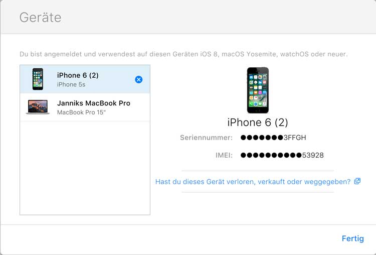 iPhone aus Account entfernen