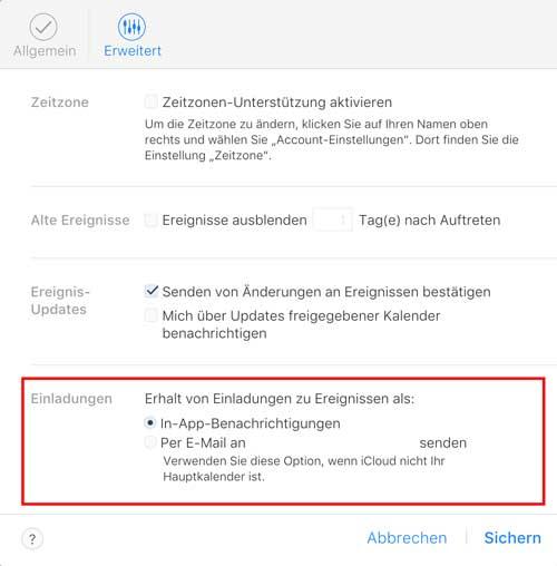 iCloud Kalender-Spam per Mail benachrichtigen