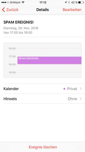 iPhone Kalender-Spam bearbeiten