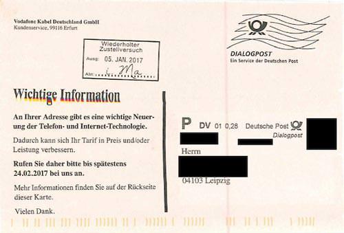 Vodafone Postkarte