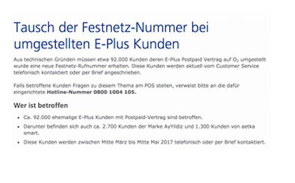 E-Plus Festnetzrufnummer o2