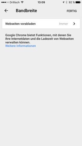Google Chrome Datensparmodus