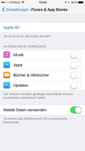 iOS Daten sparen