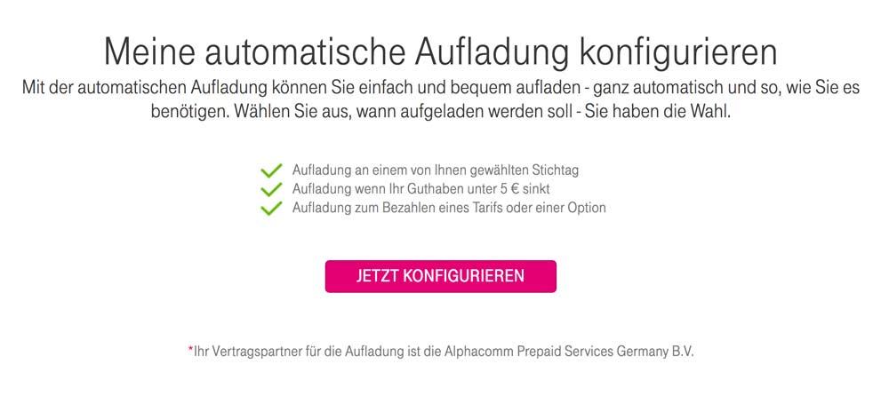 Telekom Prepaid automatische Aufladung