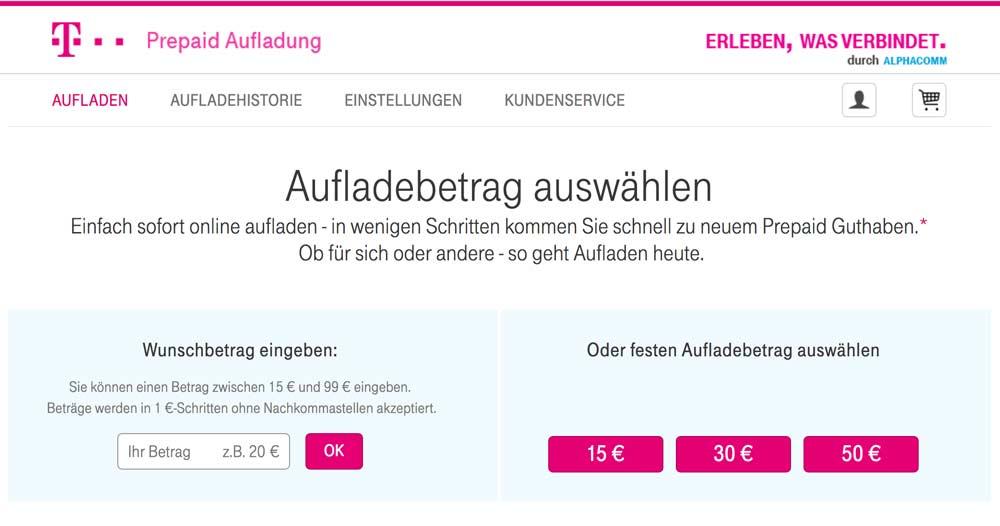 Telekom Prepaid Guthaben online aufladen