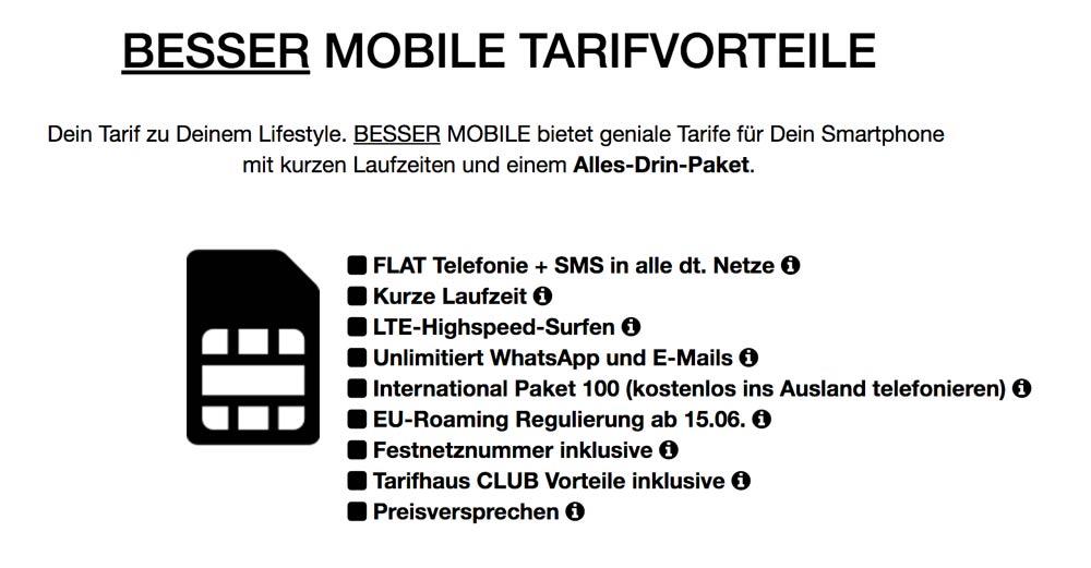 Besser Mobile Tarifdetails