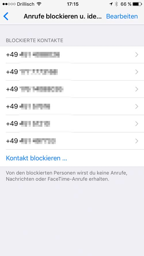 iPhone: Blockierte Nummern verwalten