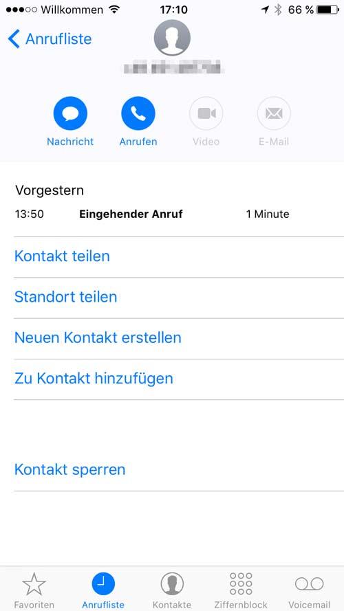 iPhone Nummer blockieren - Schritt 3