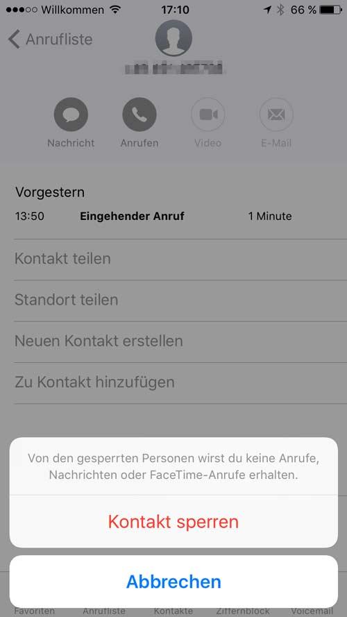 iPhone Nummer blockieren - Schritt 4