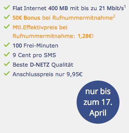 klarmobil smartphone flat 100 minuten 400 mb 50 euro bonus f r 2 95 euro. Black Bedroom Furniture Sets. Home Design Ideas