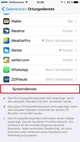 iPhone Ortungsdienste & Systemdienste