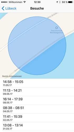 iPhone speichert Standortdaten