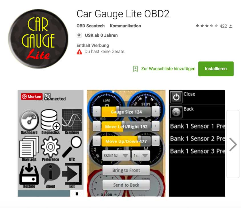 Car Gauge Lite OBD 2 App