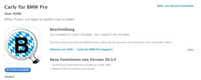 Carly OBD2 App für iOS