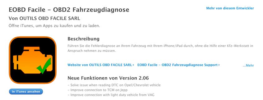 EOBD-Facile iOS App