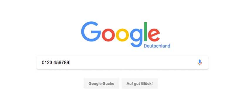 Google zur Telefonnummer-Rückwärtssuche