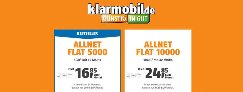 klarmobil Allnet Flat (Telekom-Netz) ab sofort mit 5 GB oder 10 GB ab 16,85 €