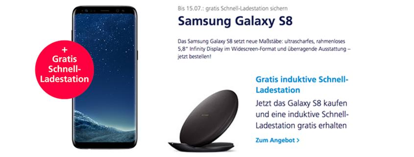 Samsung Galaxy S8 mit o2 Free M (6GB) und Wireless Charger für 39,99 Euro