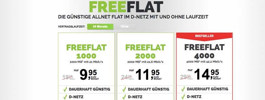 freenet freeFLAT: Allnet Flat mit 2 / 4 / 6 GB im D2-Netz ab 9,99 Euro