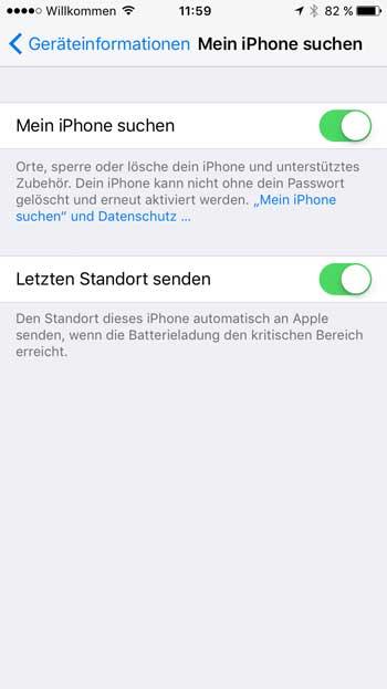 iPhone suchen: Letzten Standort senden