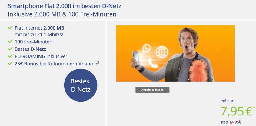 Telekom-Netz: 100 Minuten + 2 GB für 7,95 Euro bei klarmobil