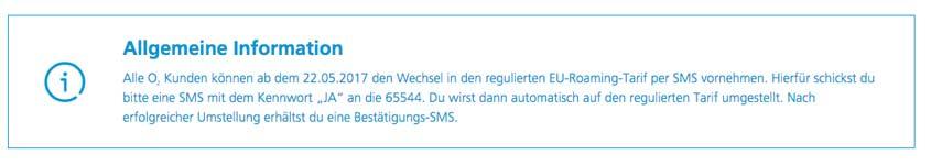 o2 Roaming SMS