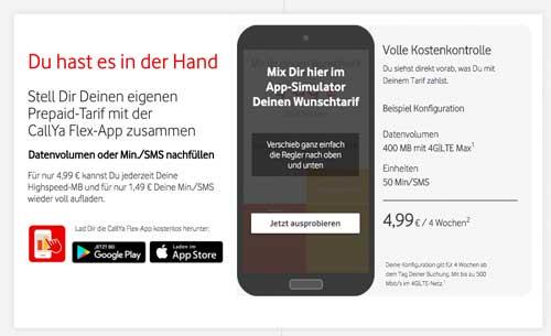 Vodafone CallYa Flex Beispiel