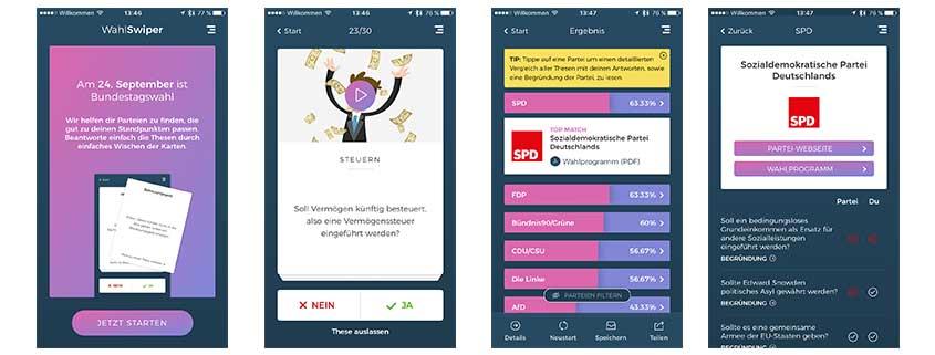 Bundestagswahl 2017: Wahl-Swiper-App im Tinder-Style