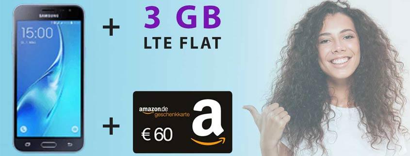 DEAL: Samsung Galaxy J3 (2016) + 3 GB LTE Flat + 60 € Amazon-Gutschein für nur 14,99 €