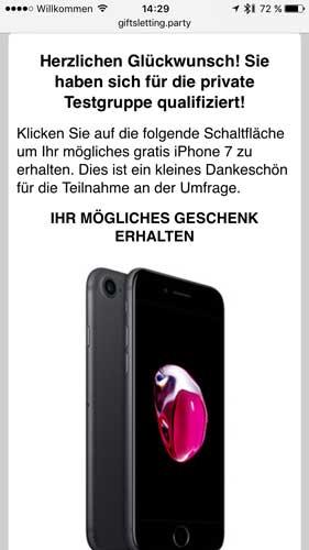 iPhone Gewinnspiel Spam