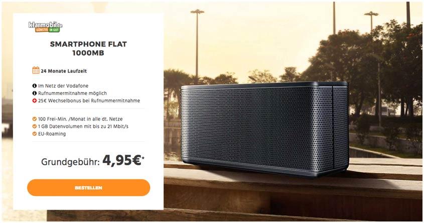 klarmobil Smartphone Flat 1.000 + Samsung Bluetooth Lautsprecher