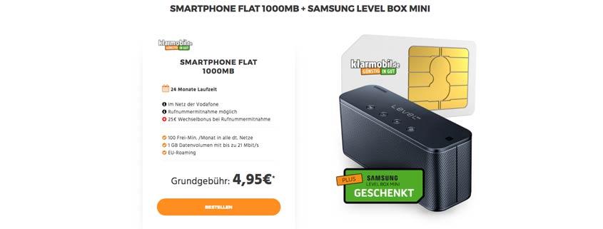 100 Minuten, 1 GB, D2-Netz + Samsung Bluetooth-Lautsprecher für 4,95 Euro